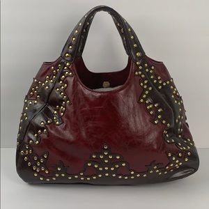 Susan Nichole Dark Red Brown Handbag Vegan Leather